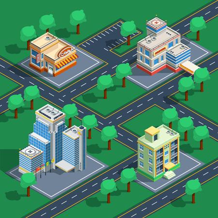 Isometrisch decoratief die pictogram met gebouwen wordt geplaatst op de abstracte straten met bomen rond vectorillustratie worden geplaatst Vector Illustratie