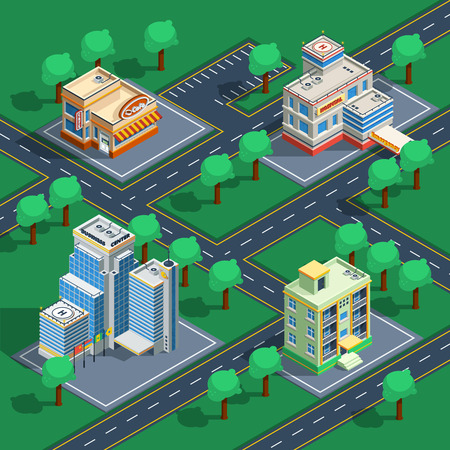 Isometric decorative icon set with buildings placed on the abstract streets with trees around vector illustration Illustration