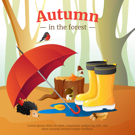 wellingtons: Autumn in forest poster with red umbrella wellingtons and hedgehog with trees trunks background cartoon vector illustration