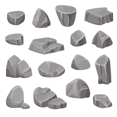 Rocks and stones flat isolated elements different shapes and shades of gray on white background isometric vector illustration