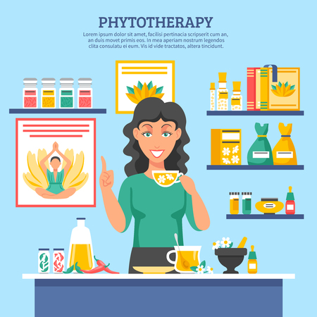 phytotherapy: Alternative medicine flat vector illustration with young woman figure holding cap of herbal tea in center and shelves of phytotherapy drugs