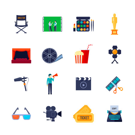 attributes: Filmmaking and movie watching attributes flat icons collection with camera film bobbin and 3d glasses isolated vector illustration