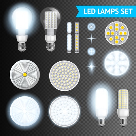 turned: Realistic turned on and off led lamps and lights effects of different size and shape set isolated on transparent background realistic vector illustration