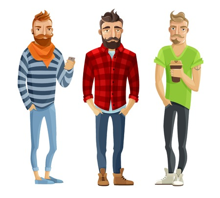 trendy male: Hipster cartoon male people wearing trendy clothes and haircuts isolated on white background vector illustration