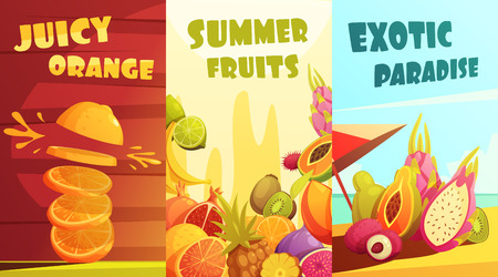 summer fruits: Exotic juicy tropical fruits vertical banners composition poster for summer vacation travelers cartoon style isolated vector illustration