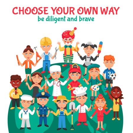profesiones: ilustración de dibujos animados del vector de varias profesiones gente para niños con instrucciones para ser diligente y valiente Vectores