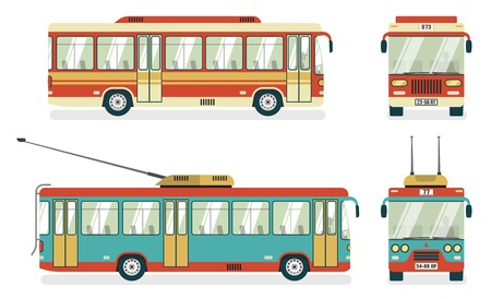 public services: City public transport services transit bus and trolleybus views 4 flat icons square abstract isolated vector illustration Illustration