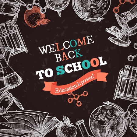 textural: Welcome back to school education hand drawn sketch chalkboard poster with tools for studying and colorful letters on textural background vector illustration Illustration