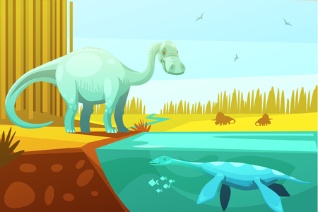 prehistoric animals: Dinosaurus and prehistoric turtle vintage image from animated cartoon animals for kids to learn abstract vector illustration