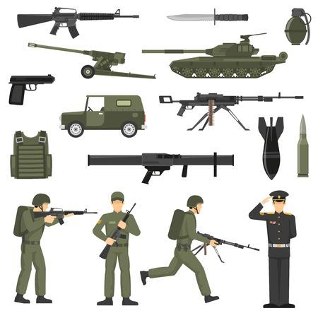 El Icono Isométrico Cuadrado De Cuatro Vehículos Militares Fijó Con ...