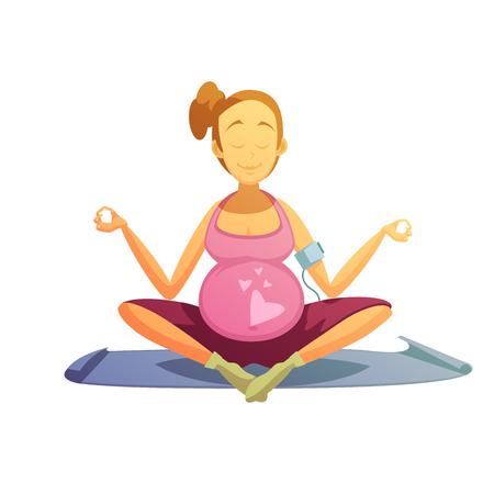 prenatal: Yoga practice for pregnant women retro cartoon poster with best prenatal asana pose abstract vector illustration