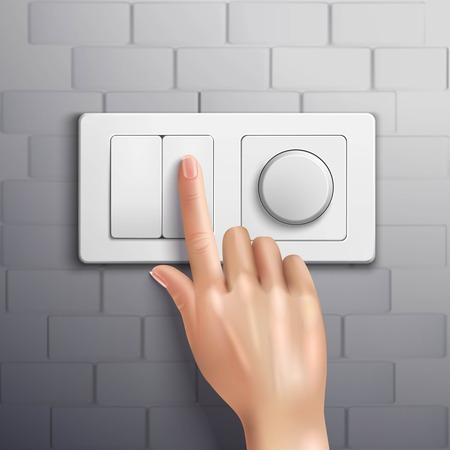 switch: Realistic hand pressing switch with forefinger on grey brick wall vector illustration
