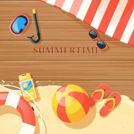 Strand apparatuur met zand en zomertijd symbolen platte vector illustratie Vector Illustratie