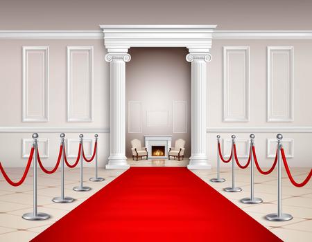 Sala de estilo victoriano con alfombra roja barreras plateadas sillones y la ilustración vectorial realista chimenea Foto de archivo - 60619702