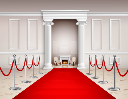 victorian fireplace: Victorian style hall with red carpet silvery barriers armchairs and fireplace realistic vector illustration Illustration