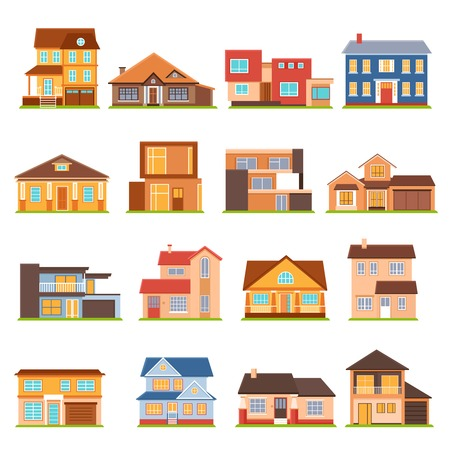 mansard: Decorative collection of modern town house cottage and estate building flat colored isolated icons vector illustration