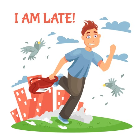 late teens: Late teenager running to school and disturbing the birds at urban landscape background cartoon vector illustration Illustration