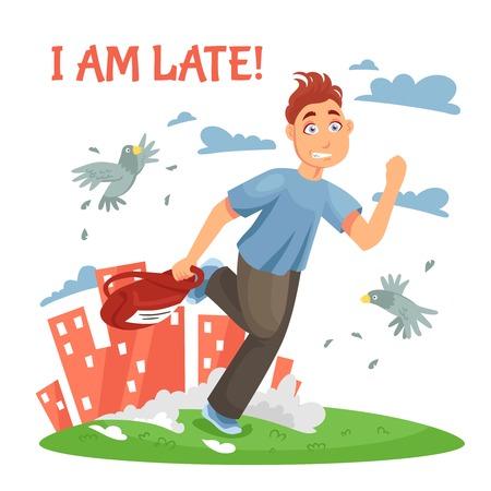 disturbing: Late teenager running to school and disturbing the birds at urban landscape background cartoon vector illustration Illustration