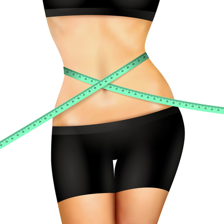 body slim: Slim fitness woman body in black shorts and top with measuring tape on white background realistic vector illustration Illustration