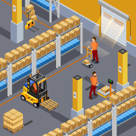 unpack: Inside warehouse with workers and packages isometric vector illustration