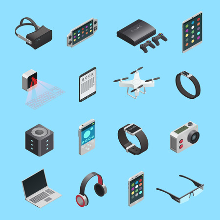 Isometric icons set of different electronic gadgets for communication playing music photo and other functions isolated vector illustration