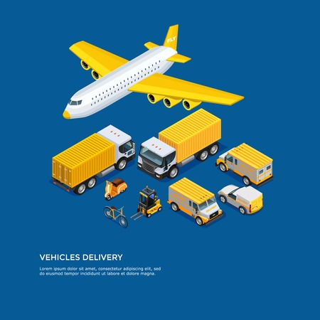 Different kinds of transport for delivery and shipping isometric set on blue background vector illustration