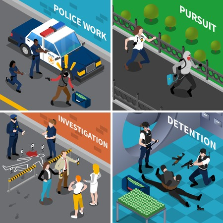 illustraion: Color isometric composition 2x2 depicting police work pursuit investigation detention vector illustraion