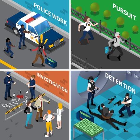 Farbe isometrische Zusammensetzung 2x2 zeigt die Arbeit der Polizei Verfolgung Untersuchungshaft Vektor illustraion Standard-Bild - 61084849