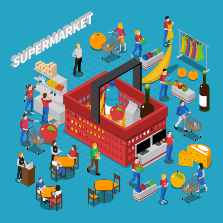 Supermarket isometric concept composition with people and basket vector illustration