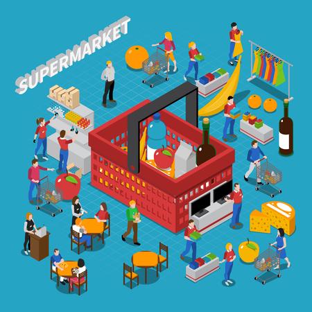 mujer en el supermercado: Supermercado composición concepto isométrica con personas y ejemplo de la cesta de vector