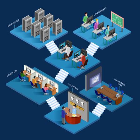 El desarrollo de conceptos de diseño isométrica con el hosting desarrolladores de servicios y personal de las oficinas ocupadas en el proceso de trabajo elementos decorativos ilustración vectorial plana