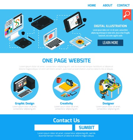 contact information: Graphic design advertising template for website with elements of creative work to develop digital images and contact information flat vector illustration