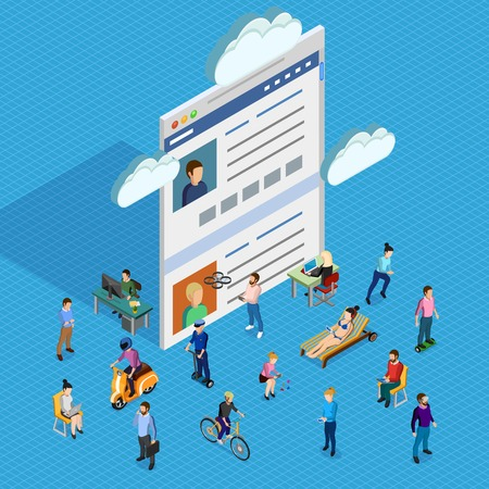 societies: Forum society of men and women of different ages having various interests and using electronic devices isometric composition with forum page and clouds on blue background vector illustration