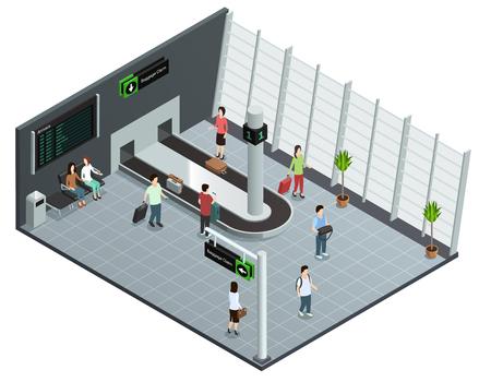 荷物配達の抽象的なベクトル図を待って到着した乗客と近代的な空港手荷物カルーセル等角図ポスター