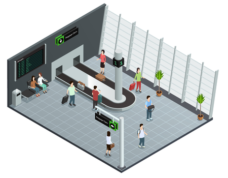 baggage: Modern airport baggage carousel isometric view poster with arrived passengers waiting luggage delivery abstract vector illustration