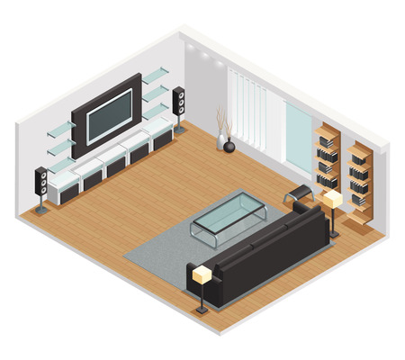 coffee table: Living room interior isometric view with large lcd screen tv leather couch and coffee table vector illustration