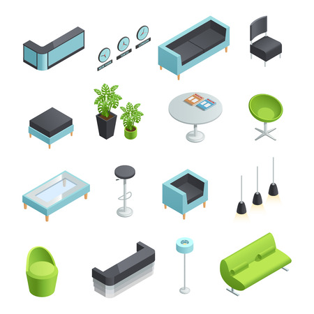 foyer: Color isometric icons of interior elements of hall foyer vector illustration