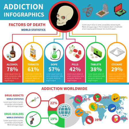 Drug addiction infographic set with percentage and world statistics isometric vector illustration Illustration