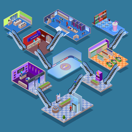 shopping mall: Many-storeyed shopping mall with various department cinema food court and ice rink isometric concept vector illustration