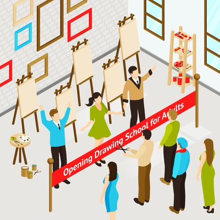 at leisure: Opening art studio for adults isometric concept with people in drawing school interior vector illustration