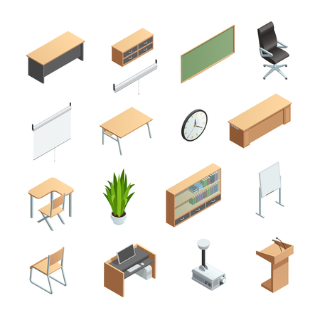classrooms: Isometric icons set of different classroom interior elements like furnitures equipments and other isolated vector illustration