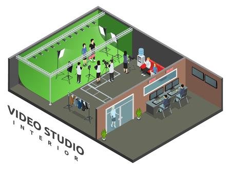 intérieur du studio d'enregistrement vidéo en direct professionnel avec le signe de l'air et l'opérateur de la caméra vue isométrique illustration vectorielle