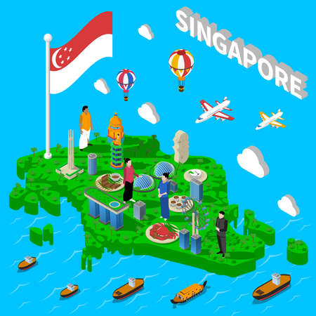barrage: Singapore cultural symbols map for tourists with transport landmarks and national seafood dishes isometric poster vector illustration