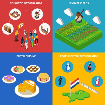flower fields: Color isometric composition 2x2 depicting touristic netherlands flower fields dutch cuisine people in national clothes vector illustration