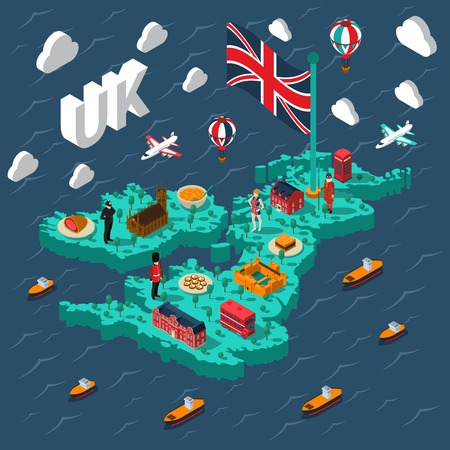 cultural: Great britain touristic isometric map with various british cultural elements on background with sea vector illustration
