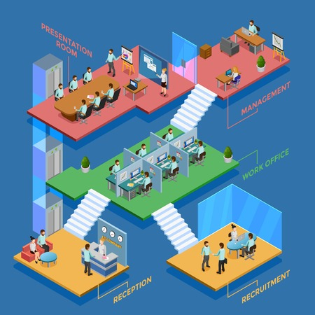 clerks: Many-storeyed isometric office with clerks at their workplaces vector illustration Illustration