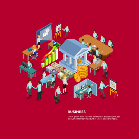 Isometric business concept set with men and women working in office vector illustration Illustration