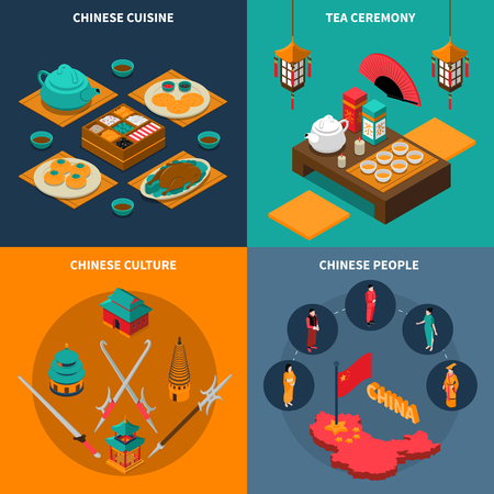 china cuisine: Colorful china touristic isometric isolated 2x2 icons set with chinese cuisine tea ceremony culture and people vector illustration