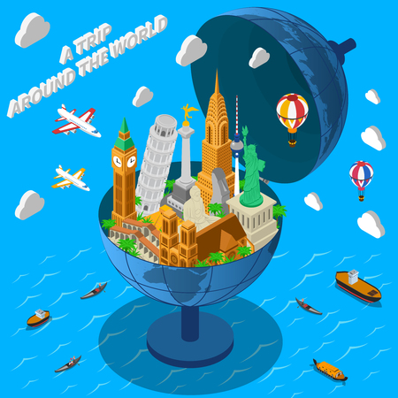 notre: International travel company isometric advertisement poster with world famous landmarks in terrestrial globe composition abstract vector illustration
