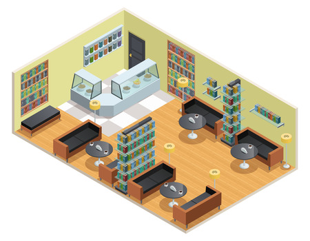 cafe table: Color isometric design of library interior with cafe table and bookshelves vector illustration Illustration
